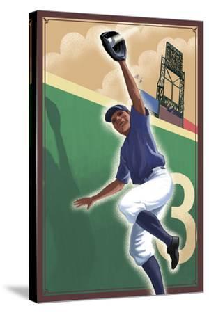 Baseball - Outfielder-Lantern Press-Stretched Canvas Print