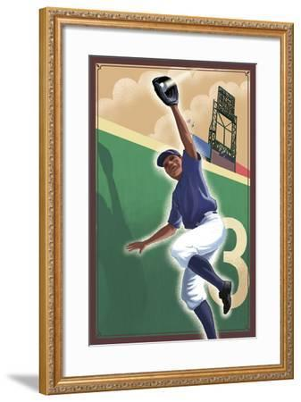 Baseball - Outfielder-Lantern Press-Framed Art Print