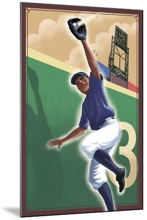 Baseball - Outfielder-Lantern Press-Mounted Art Print