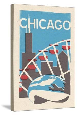 Chicago, Illinois - Woodblock-Lantern Press-Stretched Canvas Print