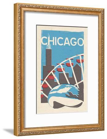 Chicago, Illinois - Woodblock-Lantern Press-Framed Art Print