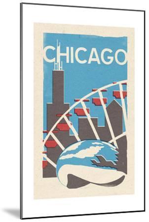Chicago, Illinois - Woodblock-Lantern Press-Mounted Art Print