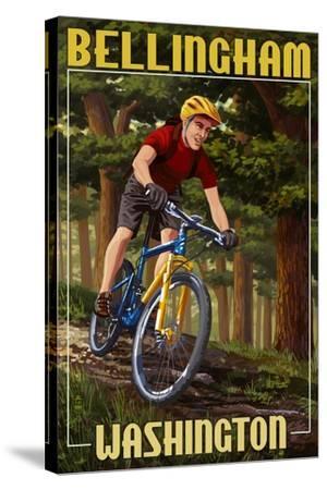 Bellingham, Washington - Mountain Biker in Trees-Lantern Press-Stretched Canvas Print
