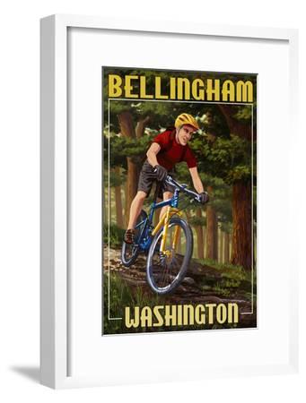 Bellingham, Washington - Mountain Biker in Trees-Lantern Press-Framed Art Print