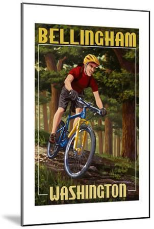 Bellingham, Washington - Mountain Biker in Trees-Lantern Press-Mounted Art Print