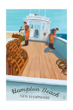 Hampton Beach, New Hampshire - Lobster Boat-Lantern Press-Framed Art Print