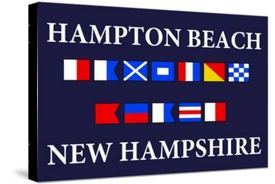 Hampton Beach, New Hampshire - Nautical Flags-Lantern Press-Stretched Canvas Print
