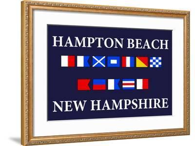 Hampton Beach, New Hampshire - Nautical Flags-Lantern Press-Framed Art Print