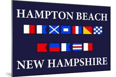 Hampton Beach, New Hampshire - Nautical Flags-Lantern Press-Mounted Art Print