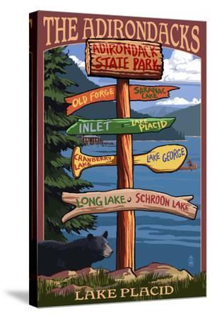 The Adirondacks - Adirondack State Park, New York - Destination Signpost-Lantern Press-Stretched Canvas Print