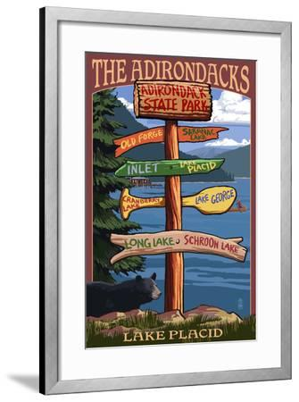 The Adirondacks - Adirondack State Park, New York - Destination Signpost-Lantern Press-Framed Art Print