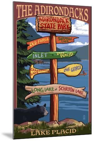 The Adirondacks - Adirondack State Park, New York - Destination Signpost-Lantern Press-Mounted Art Print