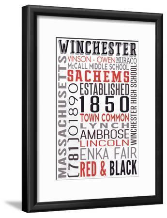 Winchester, Massachusetts-Lantern Press-Framed Art Print