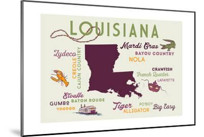 Louisiana and Icons-Lantern Press-Mounted Art Print