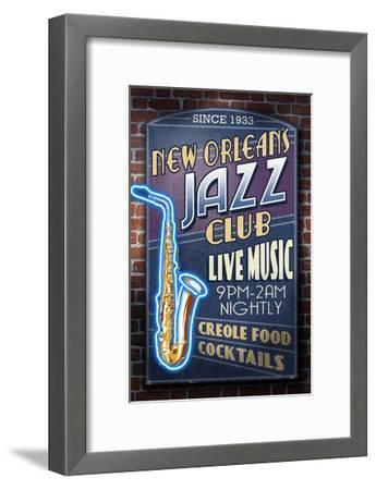 New Orleans, Louisiana - Jazz Club-Lantern Press-Framed Art Print