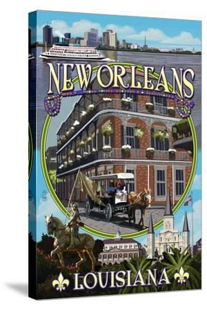 New Orleans, Louisiana - Montage-Lantern Press-Stretched Canvas Print