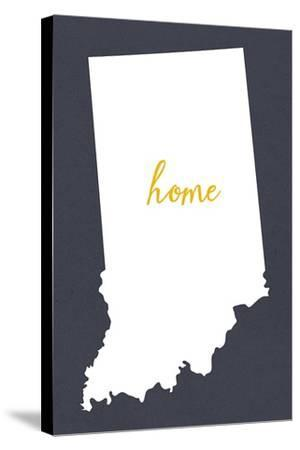 Indiana - Home State - Gray-Lantern Press-Stretched Canvas Print