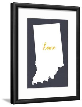 Indiana - Home State - Gray-Lantern Press-Framed Art Print