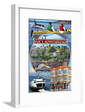 Port Townsend, Washington - Montage Scenes-Lantern Press-Framed Art Print
