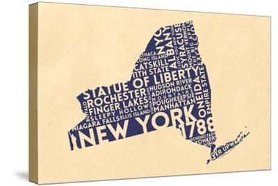 New York State Outline Typography (Cream)-Lantern Press-Stretched Canvas Print