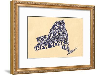 New York State Outline Typography (Cream)-Lantern Press-Framed Art Print