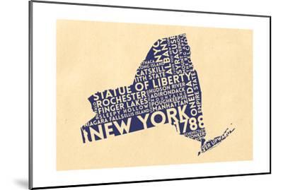 New York State Outline Typography (Cream)-Lantern Press-Mounted Art Print