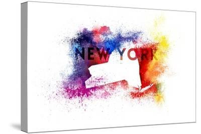 New York State Outline Abstract Paint-Lantern Press-Stretched Canvas Print