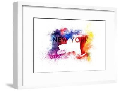 New York State Outline Abstract Paint-Lantern Press-Framed Art Print
