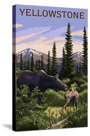 Yellowstone - Moose and Baby-Lantern Press-Stretched Canvas Print