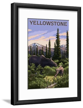 Yellowstone - Moose and Baby-Lantern Press-Framed Art Print
