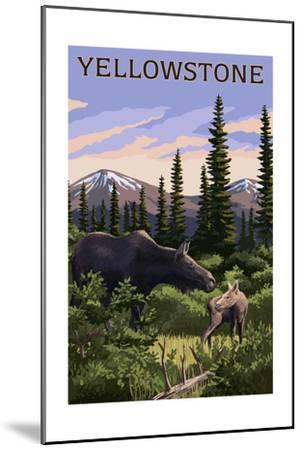 Yellowstone - Moose and Baby-Lantern Press-Mounted Art Print