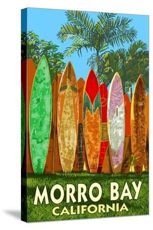 Morro Bay, California - Surfboard Fence-Lantern Press-Stretched Canvas Print