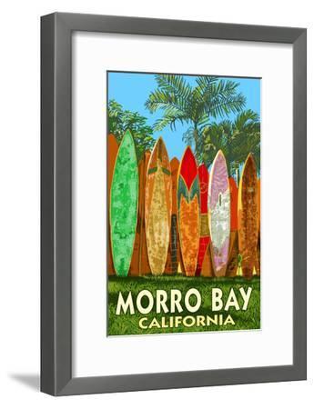 Morro Bay, California - Surfboard Fence-Lantern Press-Framed Art Print