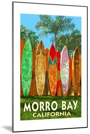 Morro Bay, California - Surfboard Fence-Lantern Press-Mounted Art Print