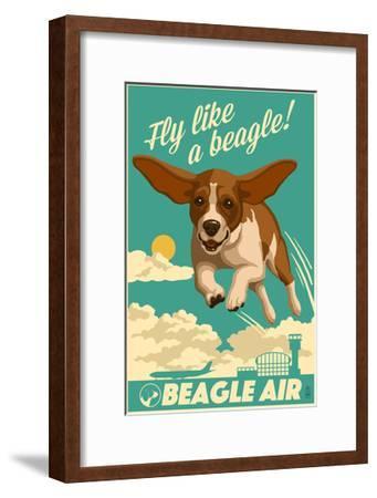 Beagle - Retro Aviation Ad-Lantern Press-Framed Art Print