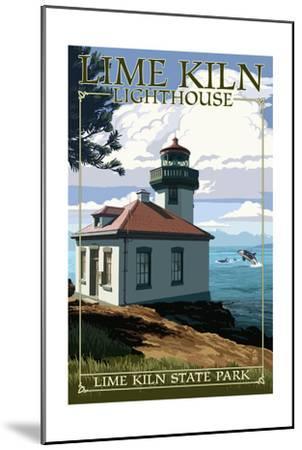 Lime Kiln State Park - San Juan Island, Washington - Lighthouse Day Scene-Lantern Press-Mounted Art Print