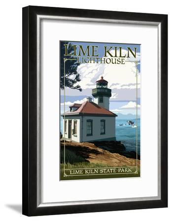 Lime Kiln State Park - San Juan Island, Washington - Lighthouse Day Scene-Lantern Press-Framed Art Print