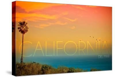 California Del Mar - Sunset and Birds-Lantern Press-Stretched Canvas Print