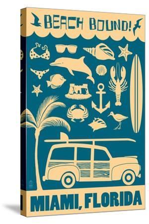 Miami, Florida - Coastal Icons-Lantern Press-Stretched Canvas Print