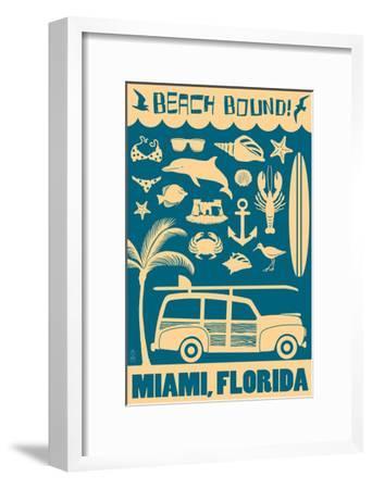 Miami, Florida - Coastal Icons-Lantern Press-Framed Art Print