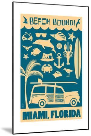 Miami, Florida - Coastal Icons-Lantern Press-Mounted Art Print