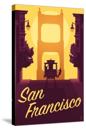 Cable Car and Sunset Bridge - San Francisco, California-Lantern Press-Stretched Canvas Print