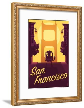 Cable Car and Sunset Bridge - San Francisco, California-Lantern Press-Framed Art Print