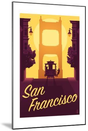 Cable Car and Sunset Bridge - San Francisco, California-Lantern Press-Mounted Art Print