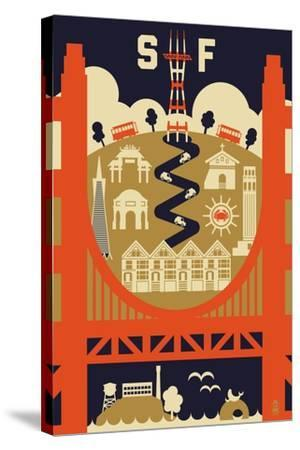 San Francisco, California - Icons of the City-Lantern Press-Stretched Canvas Print