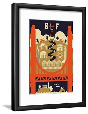 San Francisco, California - Icons of the City-Lantern Press-Framed Art Print