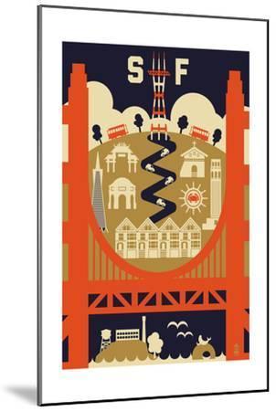 San Francisco, California - Icons of the City-Lantern Press-Mounted Art Print
