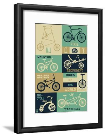 Bicycle of the World - Blues-Lantern Press-Framed Art Print