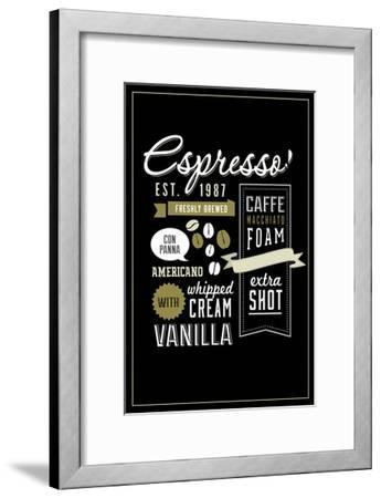 Espresso Freshly Brewed (black)-Lantern Press-Framed Art Print