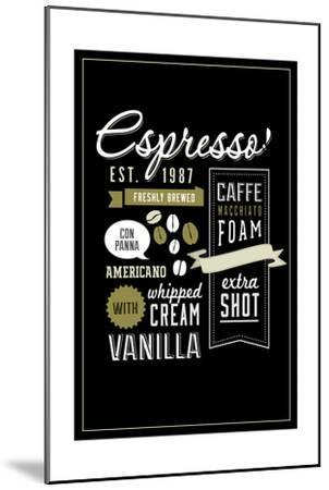 Espresso Freshly Brewed (black)-Lantern Press-Mounted Art Print